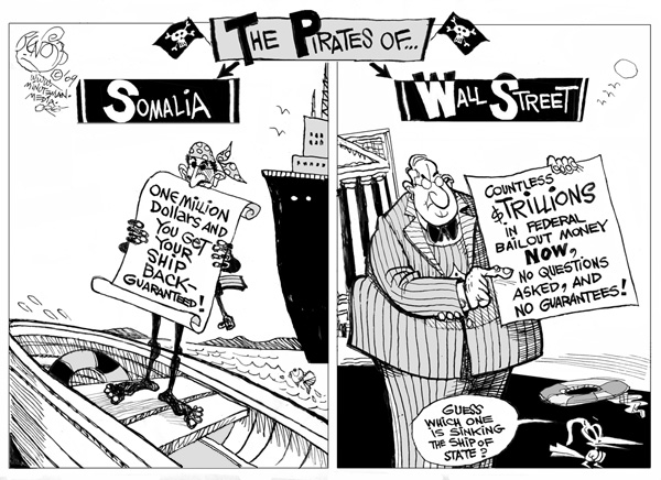 Somali piracy vs. Wall Street pirates by Bendib.com